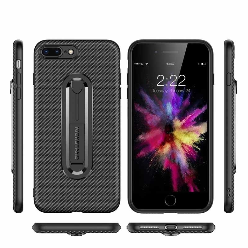 Carbon Fiber Mobile Phone Case iPhone 8 With Invisible Bracket
