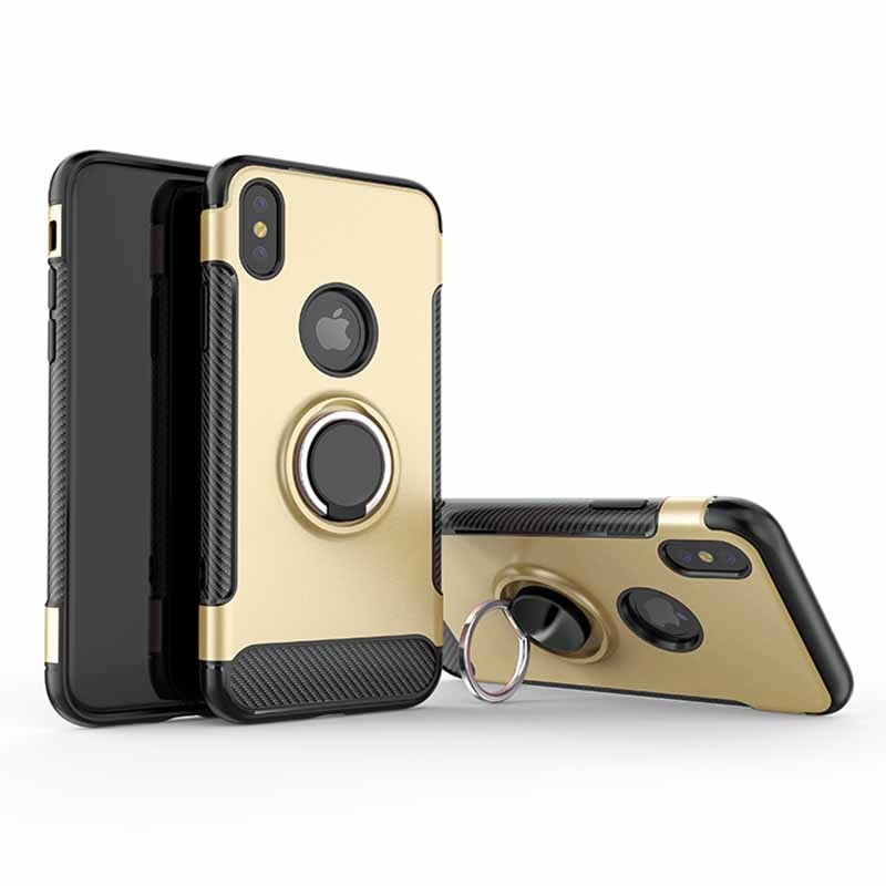 Phone Case for iPhone 6/7/8 PC+TPU With Metal Finder Ring Holder