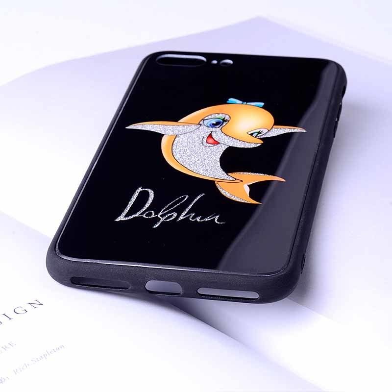Tempered Glass Phone Case Dolphin Pattern TPU+PC Back Cover For iPhone 6/7/8 Plus