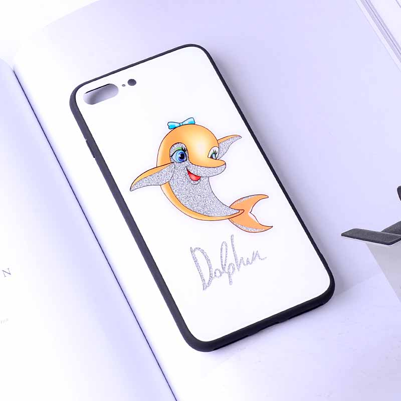 PinJun Electronic-Tempered Glass Phone Case Dolphin Pattern For iPhone 678 Plus-4