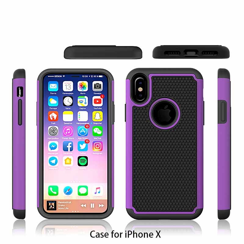 Factory Supply Football Pattern Silicone +PC Cell Phone Back Cover Case For iPhone X