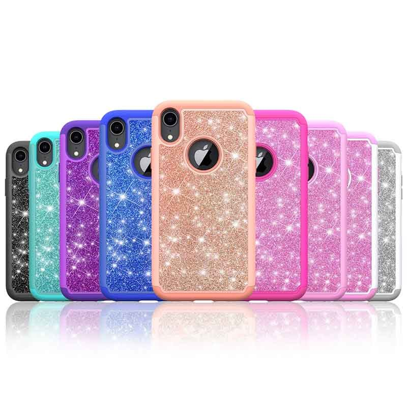 Beautiful Design Bling TPU + PC + Glitter Leather Phone Case For iPhone XS Girls