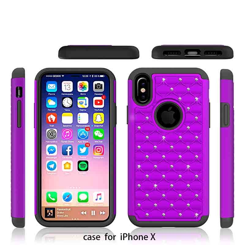 Hot Sale Rhinestone Silicone+PC Mobile Phone Cover Case For iPhone X GJZ00001
