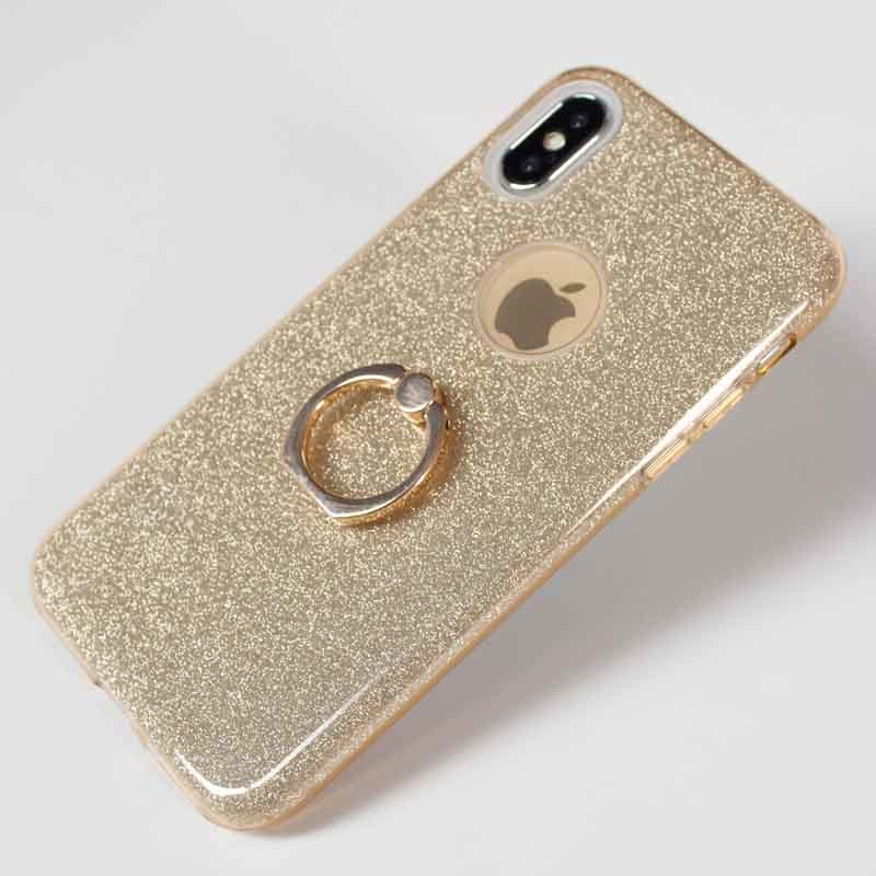 3 In 1 Hybrid Bling Shining Glitter Phone Cases , Soft TPU PP Mobile Back Cover With Holder For iPhone X