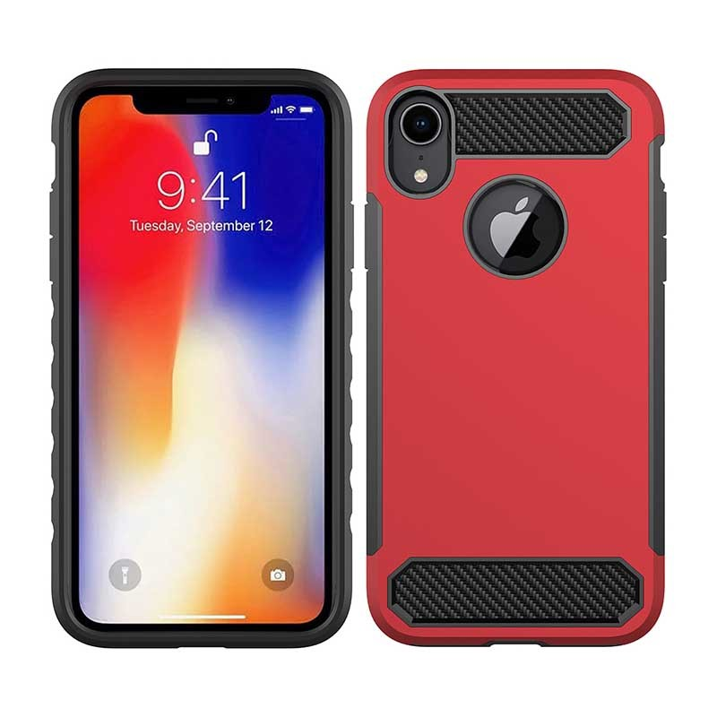 Armor Phone Case Carbon Fiber TPU PC Mobile Case Cover For iPhone XS