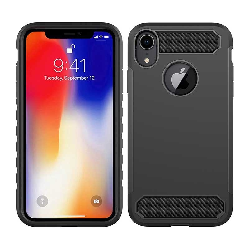 Armor Phone Case Carbon Fiber TPU PC Mobile Case CoverFor iPhone XS