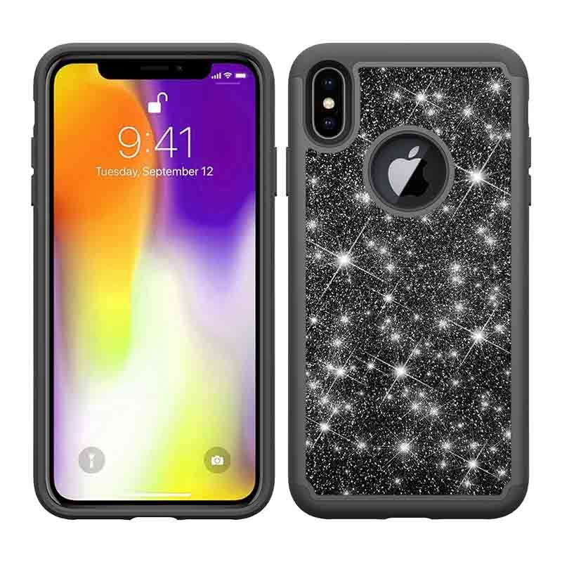 Lady Girls Bling Glitter 2 in 1 TPU+PC Phone Case  For iPhone XS