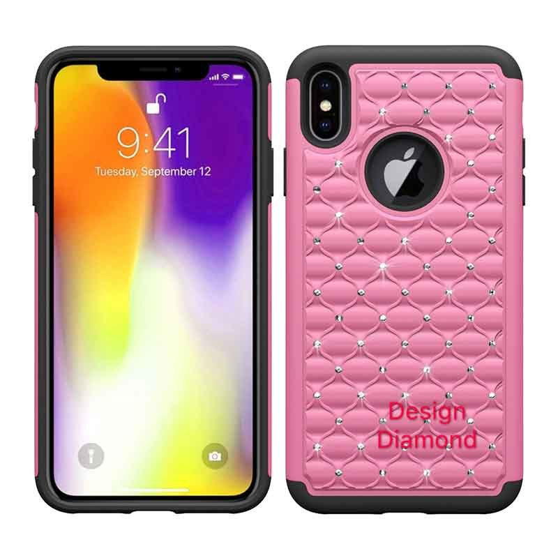 Custom Design Crystal Rhinestone Hybrid PC and Silicone Cover for iPhone XS Max