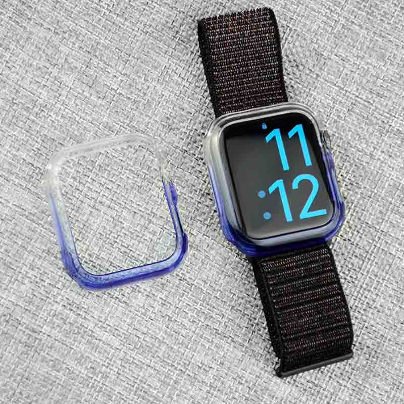 For Apple Watch 40 44mm Series4 Transparent Electroplating Hard PC Frame Case