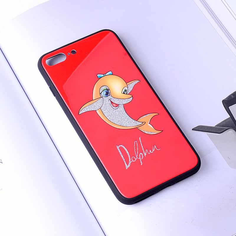 PinJun Electronic-Tempered Glass Phone Case Dolphin Pattern For iPhone 678 Plus