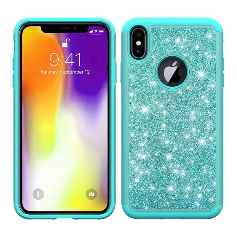 PinJun Electronic-Phone Wallet Case, Lady Girls Bling Glitter 2 In 1 Tpu+pc Phone Case For