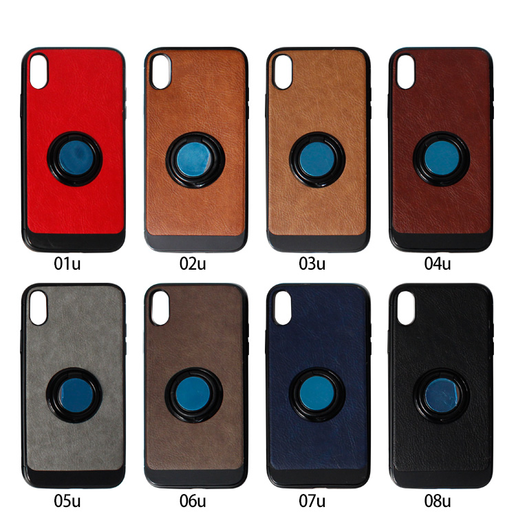 PinJun Electronic-Custom Iphone Cases, Iphone Xr 360 Rotation Finger Ring Leather Phone Case-1