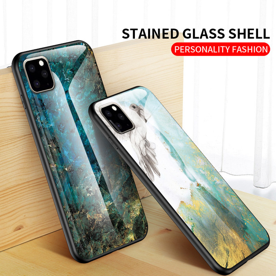 Marble Pattern Transparent glass Case For iphone11 Pro Max PJA00080